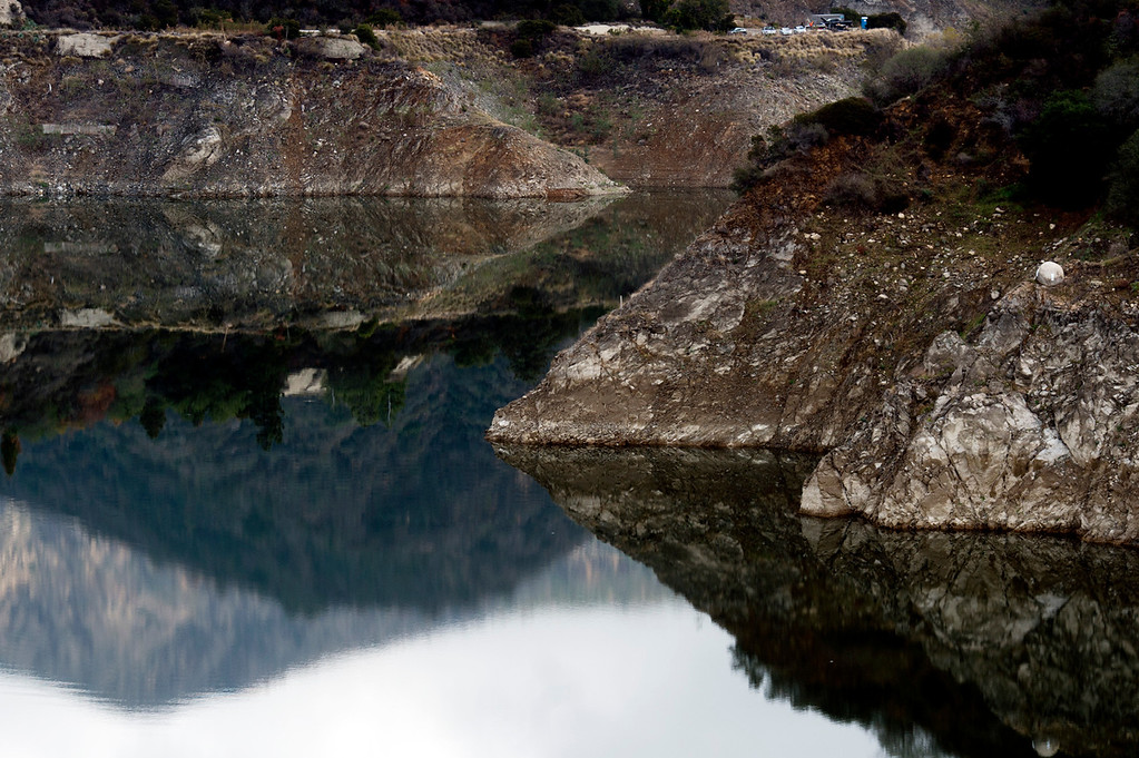 Description of . Extremely low levels of water at Morris Dam in the Angeles National Forest on Friday, Feb. 7, 2014 show the effects of the prolonged drought. Southern California is in the third year of drought. (Photo by Watchara Phomicinda/ San Gabriel Valley Tribune)