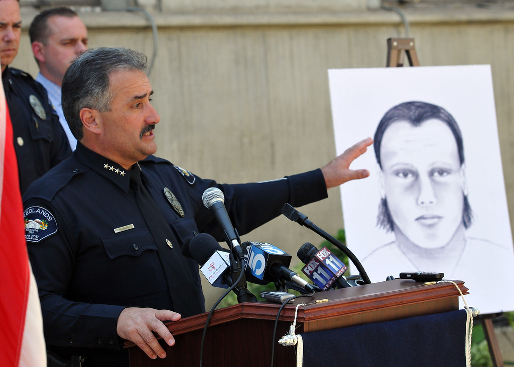 Description of . (John Valenzuela/Staff Photographer) Redlands Police Chief Mark Garcia gives an update in the murder investigation of Sylvia Flores, during a press conference outside the police annex in Redlands, CA.Tuesday, September 12, 2013. Flores, a 23-year-old woman from Perris, CA. who's body was found in a orange groves near Citrus Plaza shopping center in Redlands.