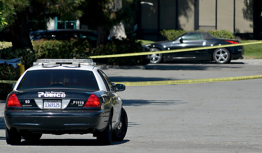 Description of . San Bernardino police are investigating a shooting that left three man dead. The three were killed following a shooting early Friday, in the 1900 block of South Diners Court, police near Hospitality Lane in San Bernardino (Photo by Rick Sforza/The Sun)