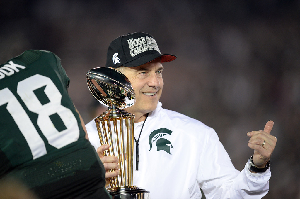 Description of . Michigan State head coach Mark Dantonio  gives the thumbs up after winning the 100th Rose Bowl game in Pasadena Wednesday, January 1, 2014. Michigan State defeated Stanford 24-20. (Photo by Hans Gutknecht/Los Angeles Daily News)