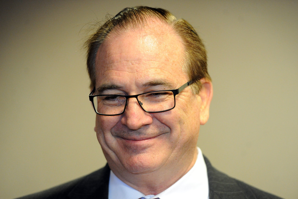 Description of . Senate republican Leader, Bob Huff, smiles as he talks about Councilwoman Ling Ling Chang R-Diamond Bar, who announced her candidacy for State Assembly, 55th Assembly District during a press conference at Pacific Palms Resort on Friday, May 24, 2013 in Industry, Calif.  (Keith Birmingham Pasadena Star-News)