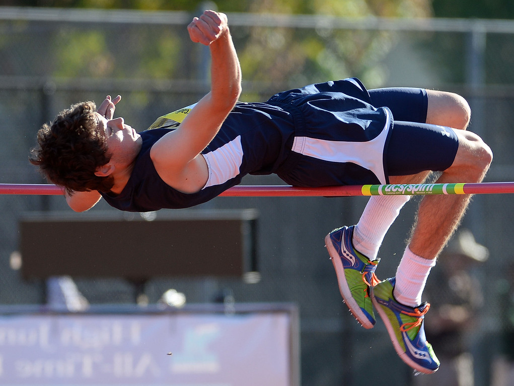 Description of . Notre Dame's Thomas Djerjian competes in the high jump during the Arcadia Invitational track and field meet at Arcadia High School in Arcadia, Calif., on Friday, April 11, 2014.  (Keith Birmingham Pasadena Star-News)