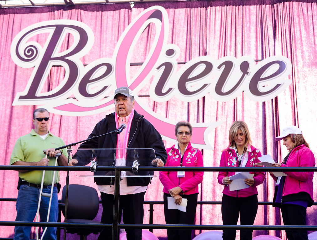Description of . Stater Bros. Markets CEO Jack Brown speaks before the start of the breast cancer awareness walk during the 6th annual Believe Walk in downtown Redlands on Sunday, Oct. 6, 2013. (Photos by Rachel Luna / Staff Photographer)