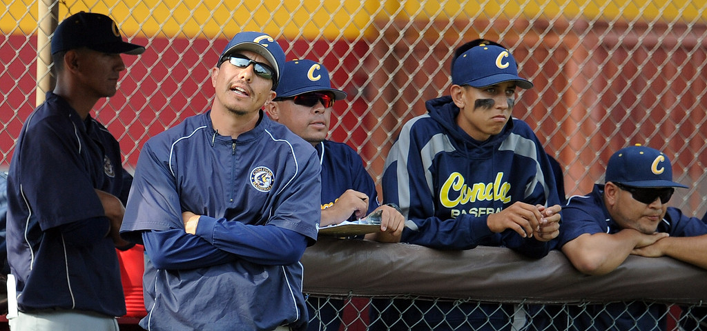 Description of . California head coach Tony Nieto reacts after a out in the seventh inning of a CIF-SS playoff baseball game against La Canada at La Canada High School on Thursday, May 16, 2013 in La Canada, Calif. La Canada won 4-2.  (Keith Birmingham Pasadena Star-News)