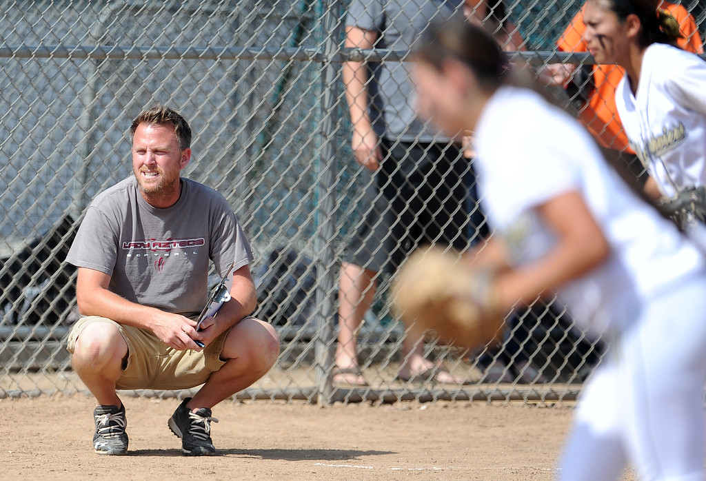 Description of . Barstow head coach Richard Johannsen in the sixth inning of a CIF-SS quarterfinal playoff softball game against Northview at Northview High School on Thursday, May 23, 2013 in Covina, Calif. Northview won 5-4.  (Keith Birmingham Pasadena Star-News)