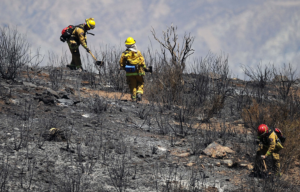 Description of . (8-9-13-Banning--Metro- Sacramento Firefighters work to put out hot spots on a hillside during the Silver Fire in the Twin Pines Rancho  south of Banning Friday August 9, 2013. The Fire burned 11,000 acres.LaFonzo Carter/ Staff Photographer