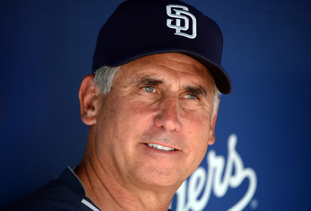 Description of . San Diego Padres manager Bud Black prior to a Major league baseball game between the San Diego Padres and the Los Angeles Dodgers on Saturday, July 12, 2014 in Los Angeles.   (Keith Birmingham/Pasadena Star-News)