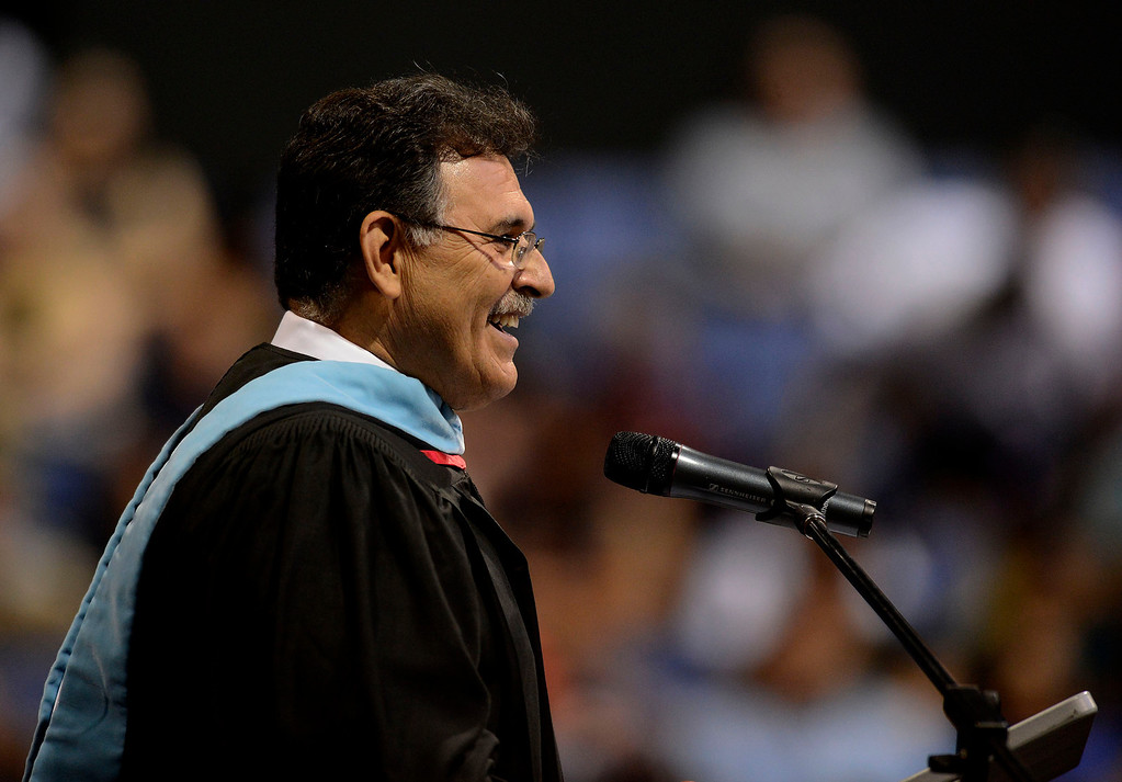 Description of . Principal Albert Castillo addresses graduates during the Rialto High School Commencement Exercises held at Citizens Bank Arena in Ontario June 2, 2013.  GABRIEL LUIS ACOSTA/STAFF PHOTOGRAPHER.