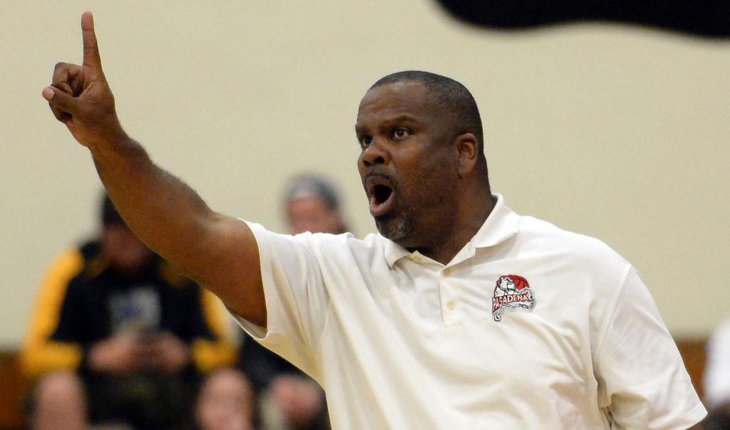 Description of . Pasadena head coach Tony Brooks in the first half of a prep playoff game against Ontario at Pasadena High School in Pasadena, Calif., on Friday, Feb.21, 2014. (Keith Birmingham Pasadena Star-News)