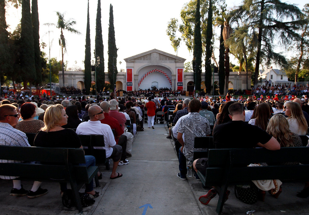 Description of . Redlands East Valley High School's class of 2014 graduation ceremony takes place on Thursday, June 12, 2014 at the Redlands Bowl in Redlands, Ca.  (Photo by Micah Escamilla/Redlands Daily Facts)