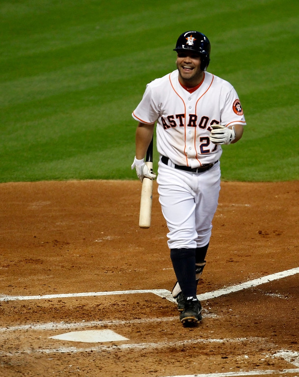Description of . Houston Astros Jose Altuve reacts after striking out in the fourth inning of a baseball game against the Los Angeles Angels Saturday, Sept. 14, 2013 at Minute Maid Park in Houston. (AP Photo/Eric Christian Smith)