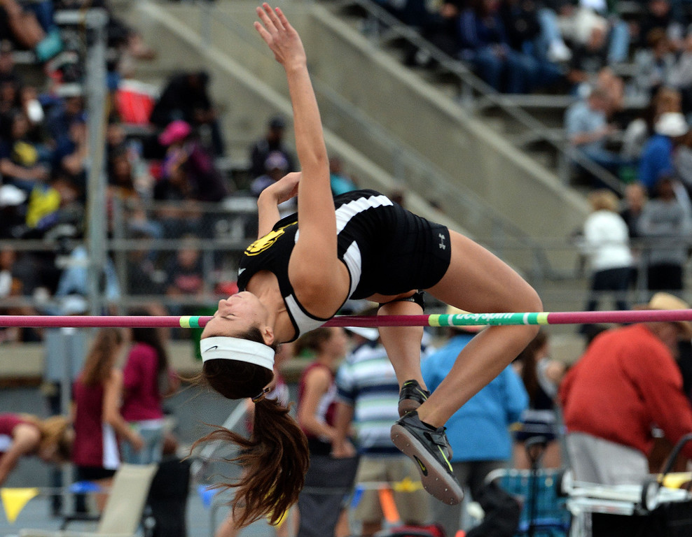 Description of . Peninsula's Tammy McVickar in the division 1 high jump during the CIF Southern Section track and final Championships at Cerritos College in Norwalk, Calif., Saturday, May 24, 2014. 
