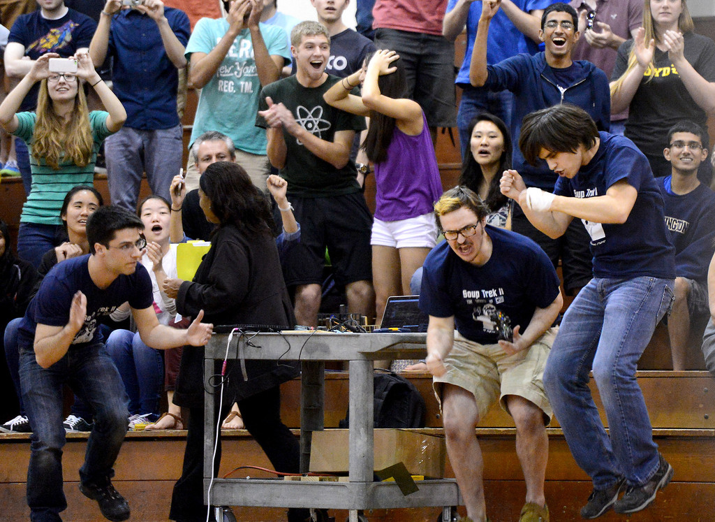 Description of . The Cunning Stunts celebrate continuing on during the final round as mechanical engineering Caltech students compete in the annual ME72 Engineering Design Contest at the Pasadena campus Tuesday, March 11, 2014. The goal in