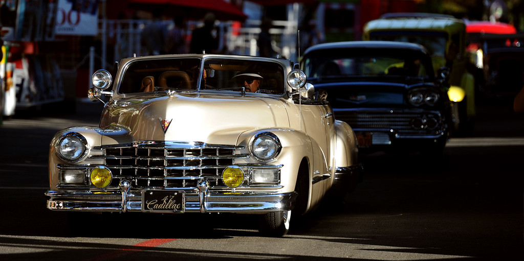 Description of . A 1947 Cadillac during the Diamond Bar community parade during the 91st Annual L.A. County Fair in Pomona, Calif. on Thursday, Sept. 5, 2013.   (Photo by Keith Birmingham/Pasadena Star-News)