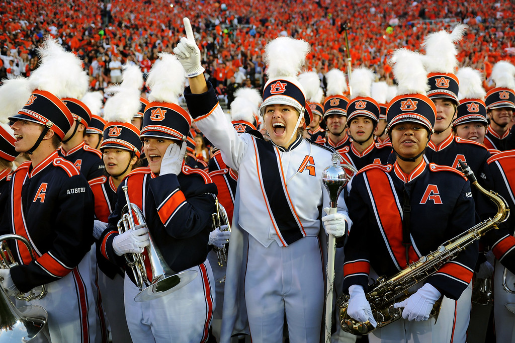 Description of . The Auburn band cheers before the BCS national championship game at the Rose Bowl, Monday, January 6, 2014. (Photo by Michael Owen Baker/L.A. Daily News)