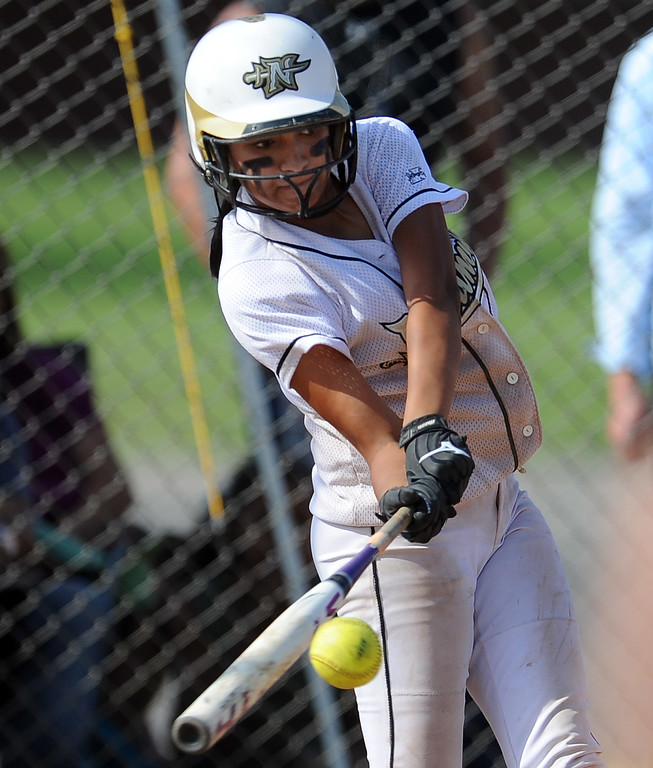 Description of . Northview's Jocelyn Marquez solo home run in the sixth inning of a CIF-SS quarterfinal playoff softball game against Barstow at Northview High School on Thursday, May 23, 2013 in Covina, Calif. Northview won 5-4.  (Keith Birmingham Pasadena Star-News)