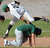 Nogales first baseman Anthony Giordado (22) tags out Temple City's Gabriel Juarez in a run down between first and third in the fourth inning of a prep baseball game at Nogales High School on Tuesday, March 12, 2013 in West Covina, Calif. Nogales won 2-0.  (Keith Birmingham Pasadena Star-News)