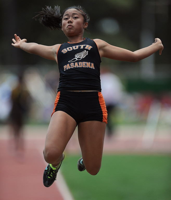 Description of . South Pasadena's Nina Acebo in the long jump during the CIF-SS track & Field championship finals in Hilmer Stadium on the campus of Mt. San Antonio College on Saturday, May 18, 2013 in Walnut, Calif.  (Keith Birmingham Pasadena Star-News)