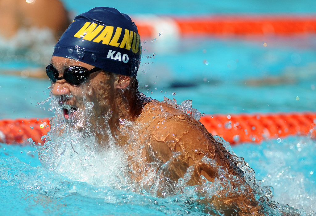 Description of . Walnut's Derek Kao competes in the 200 yard medley relay during the CIF-SS Division II swim finals at Riverside City College on Saturday, May 11, 2013 in Riverside, Calif.  (Keith Birmingham Pasadena Star-News)