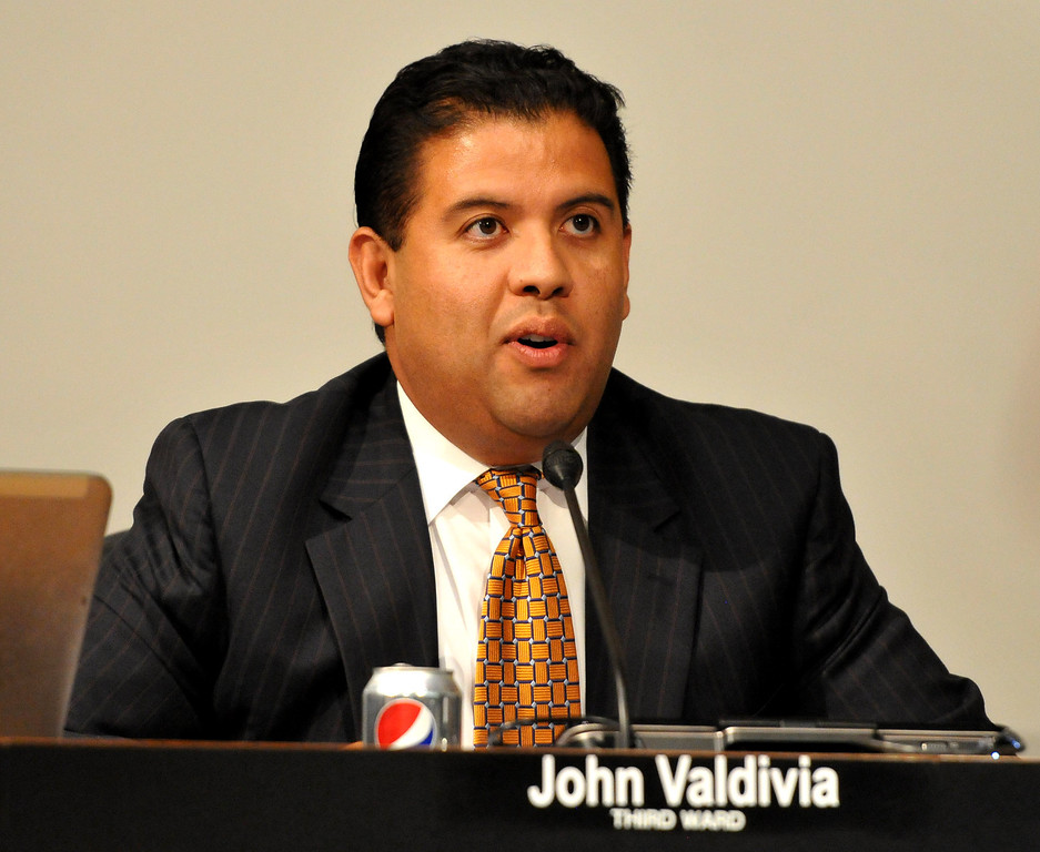 Description of . (John Valenzuela/ Staff Photographer) San Bernardino councilman John Valdivia talks during Monday's San Bernardino City Council meeting at City Hall, Oct. 20, 2013.