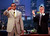 Chicago Cubs slugger Sammy Sosa, left, gets a standing ovation from Jay Leno and the