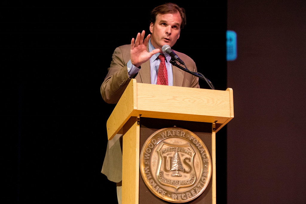 Description of . USDA Under Secretary Robert Bonnie speaks about the San Gabriel Mountains being considered for national monument status during a San Gabriel Mountains meeting Tuesday night, August 26, 2014 at Baldwin Park Performing Arts Center. Rep. Judy Chu has a bill to make the area a national recreation area but has since asked President Obama to consider the mountains a national monument. (Photo by Sarah Reingewirtz/Pasadena Star-News)