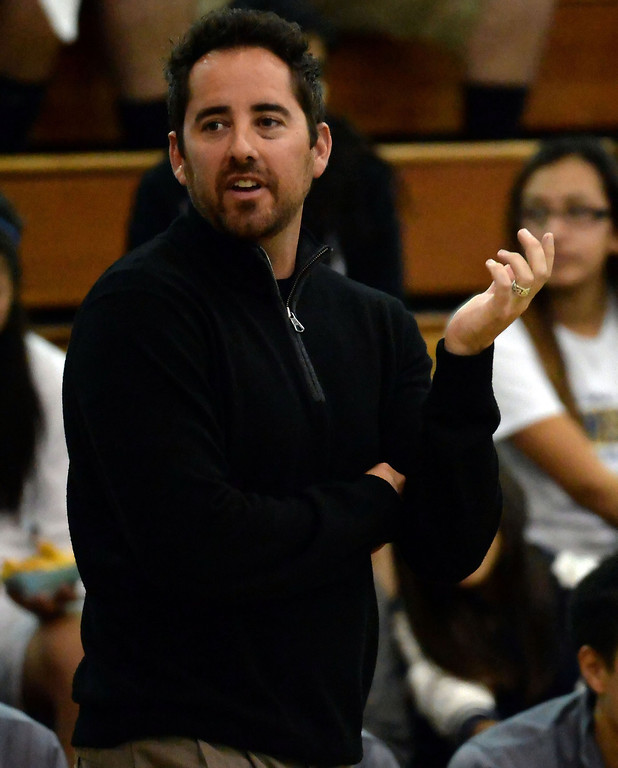Description of . Walnut head coach Josh Cameron in the first half of a prep basketball game against Los Altos at Walnut High School in Walnut, Calif., on Wednesday, Jan. 22, 2014. (Keith Birmingham Pasadena Star-News)