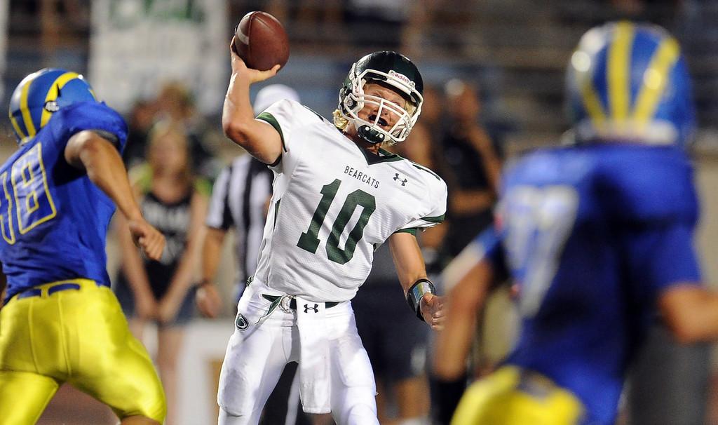 Description of . Bonita quarterback Tanner Diebold (10) passes against San Dimas in the first half of a prep football game at Citrus College on Thursday, Aug. 29, 2013 in Glendora, Calif.   (Keith Birmingham/Pasadena Star-News)
