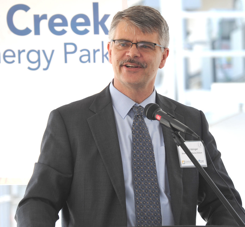 Description of . Ron Litzinger, President of Southern Califrornia Edison, as Edison Mission Energy dedicates their new Walnut Creek Energy Park in the City of Industry on Friday May 9, 2013. The 479 mega-watt project can produce enough energy to power 165,000 home air conditioning systems in the Los Angeles area. (SGVN/Staff Photo by Keith Durflinger)