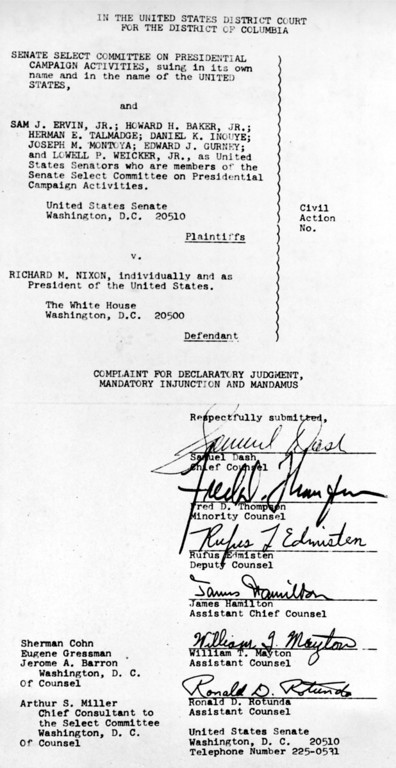 Description of . This photograph shows the first and last pages of the complaint filed in federal court in Washington, D.C., by the Senate Watergate Committee, Thursday, Aug. 9, 1973. The complaint names as defendant Richard M. Nixon, individually and as President of the United States. The signatures appear on the last page of the complaint. (AP Photo)