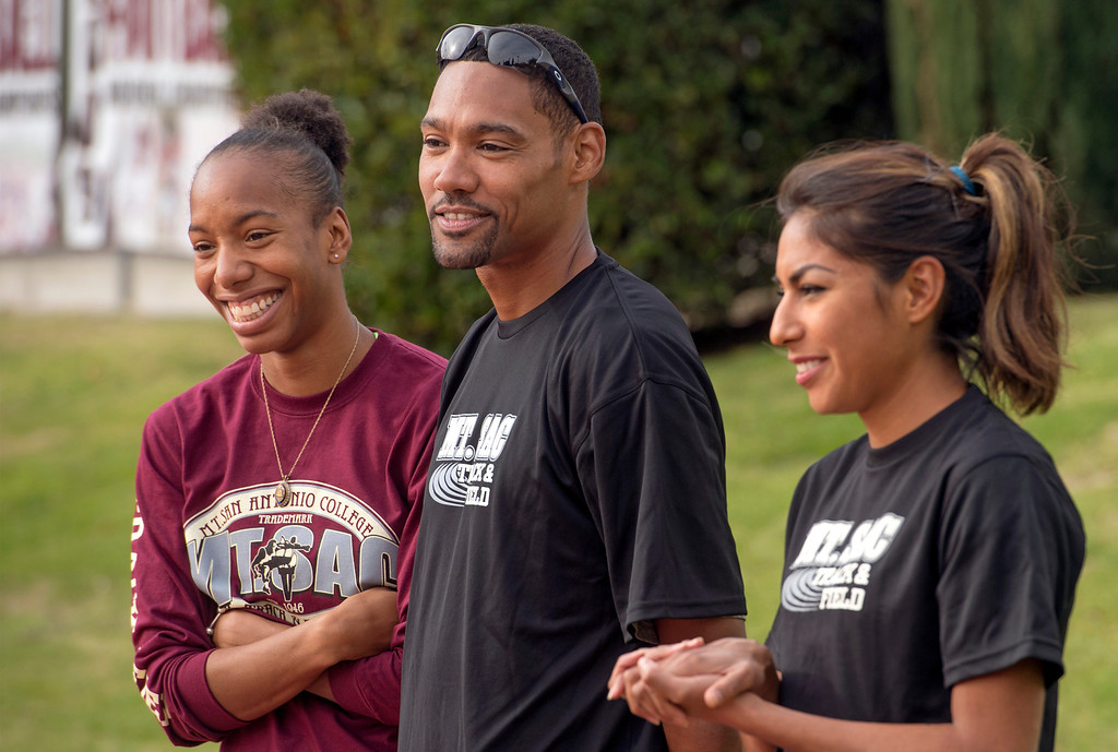 Description of . Athletes from left:  Olympic high-jumpers Brigetta Barrett and Jaime Nieto with world class distance runner Brenda Martinez attend a press conference announcing the renovation of Mt. SAC's Hilmer Lodge Stadium at the Walnut campus Dec. 2, 2013.  The renovation would qualify the stadium to apply for consideration as the track and field venue of the 2020 Olympics.    (Staff photo by Leo Jarzomb/San Gabriel Valley Tribune)