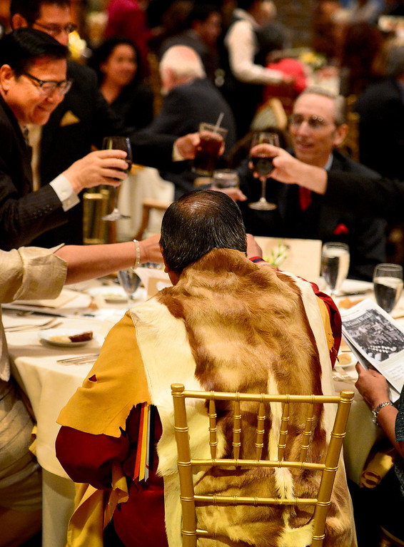 Description of . Anthony Morales, of the Gabrieleno Tongva, toasts with politicians during the San Gabriel's Centennial Dinner April 24, 2013 where they held a blessing. Gabrielenos have been trying for decades to have their tribe be recognized by the Federal Government causing strain amongst tribal members. They are not alone in their quest to receive federal benefits through a process that many say is an impossible bureaucracy. (SGVN/Staff Photo by Sarah Reingewirtz)