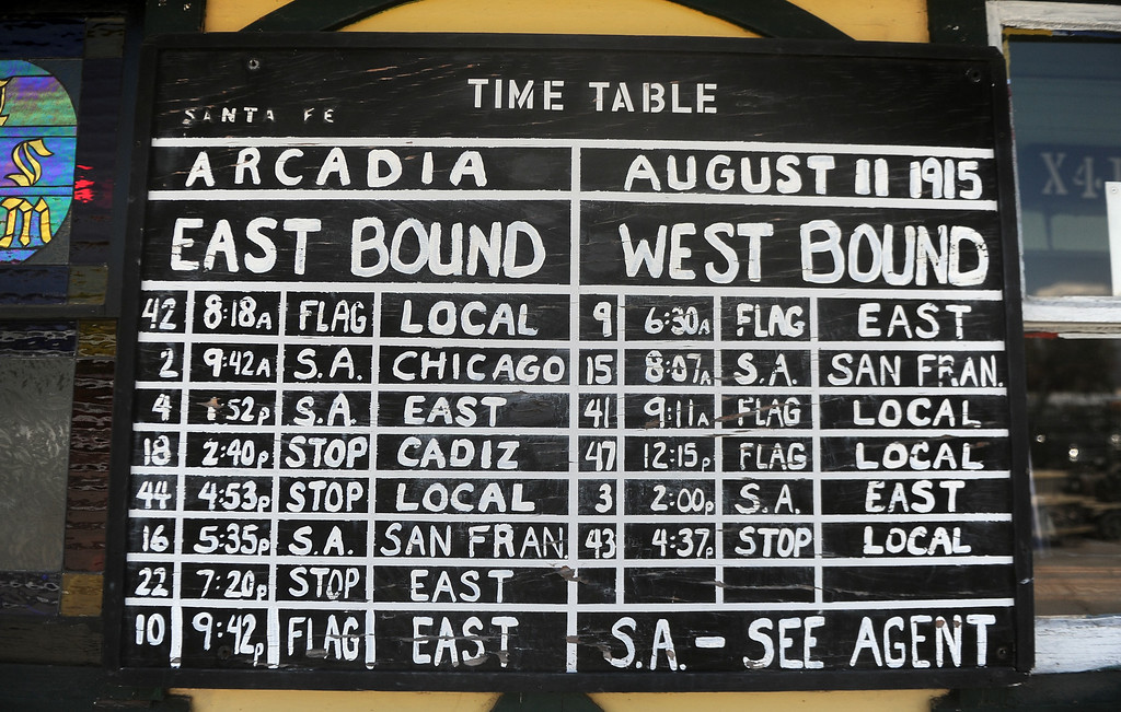 Description of . The time table in from of the depot in the Railgiants Train Museum during the 91st Annual L.A. County Fair in Pomona, Calif. on Thursday, Sept. 5, 2013.   (Photo by Keith Birmingham/Pasadena Star-News)