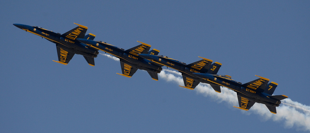 Description of . March 19,2014. Lancaster CA. The US Navy Blue Angels do some warmup maneuvers at Fox field Wednesday afternoon. The Los Angels County air show with the Blue Angels will happen this Friday and Saturday at Fox Field.  Photo   by Gene Blevins/LA DailyNews
