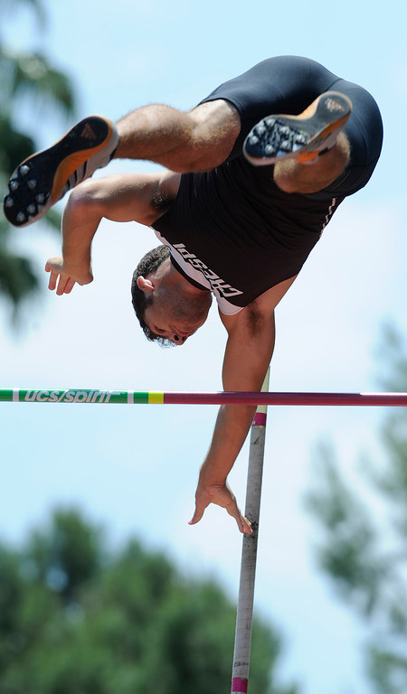 Description of . Brandon Enbody from Crespi competes in the pole vault during the 2013 CIF Southern Section Track & Field Divisional Finals held at Mt. San Antonio College in Walnut, CA 5/18/2013(John McCoy/LA Daily News)