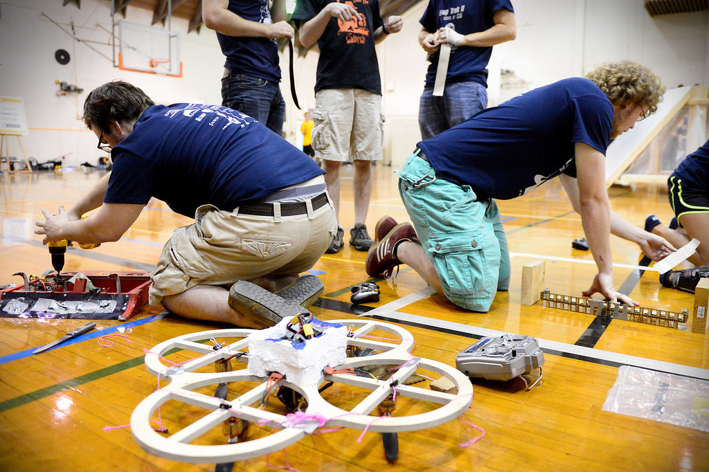 Description of . The Cunning Stunts get ready for their final round as mechanical engineering Caltech students compete in the annual ME72 Engineering Design Contest at the Pasadena campus Tuesday, March 11, 2014. The goal in