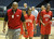 02-27-2012--(LANG Staff Photo by Sean Hiller)- Windward beat Serra 85-57 in Wednesday's girls basketball CIF SS Div. 4AA title game at the Anaheim Convention Center Arena in Anaheim. Coach
