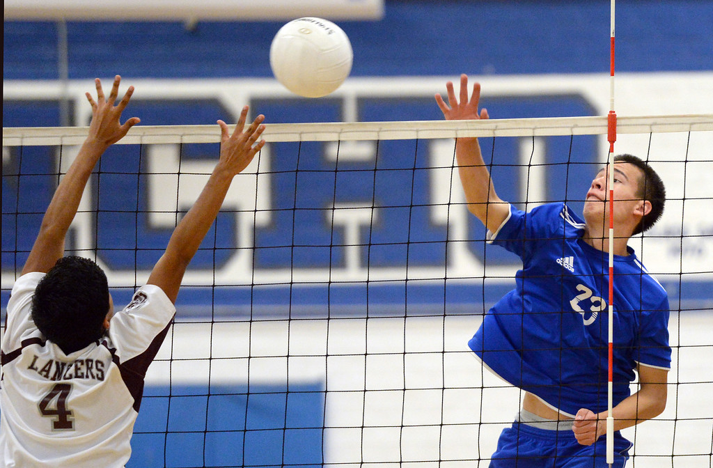 Description of . El Rancho's Dimitric Lozano (#23) scores as they play Bell Gardens in their non-league game at El Rancho High School in Pico Rivera on Friday March 28, 2014. Bell Gardens defeated El Rancho 3-2 games. (Staff Photo by Keith Durflinger/Whittier Daily News)