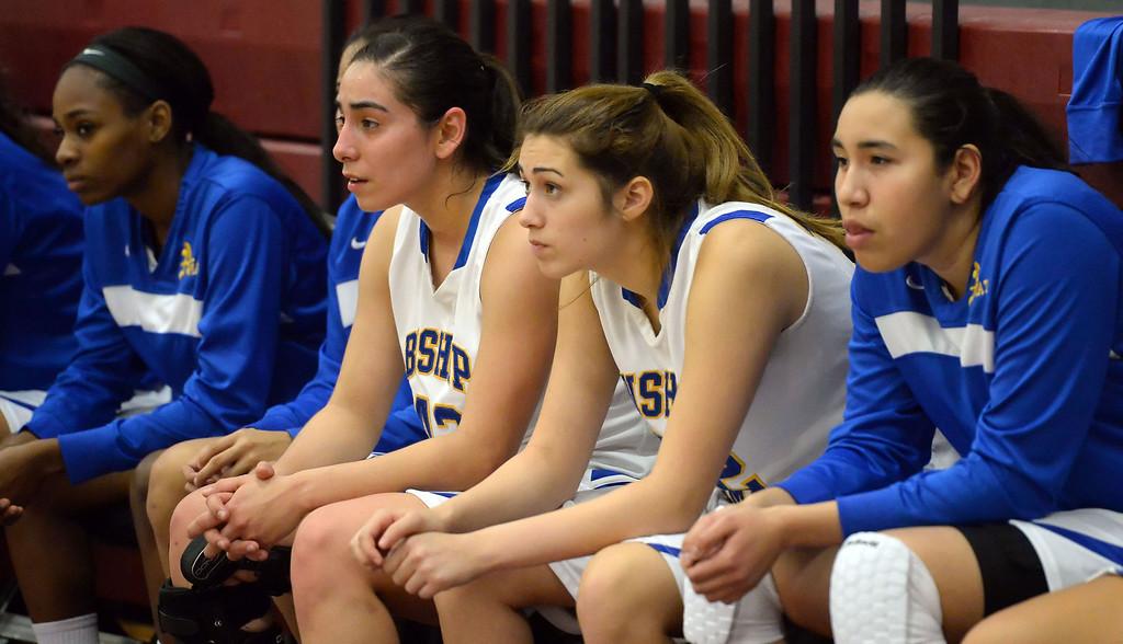 Description of . Bishop Amat bench in the second half of the Covina basketball tournament against Bonita at Covina High School in Covina, Calif., on Saturday, Dec. 14, 2013. Bonita won 49-41.   (Keith Birmingham Pasadena Star-News)