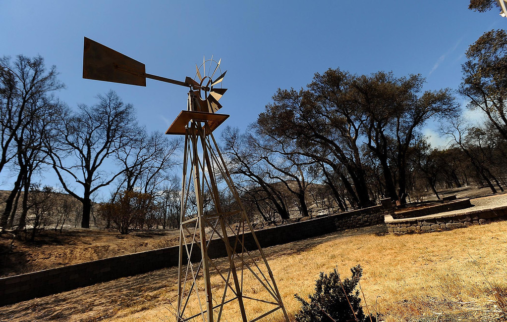 Description of . A view of the Goble residence which survived the Silver Fire along Twin Pines Road in the mountains south of Banning August 8, 2013.  GABRIEL LUIS ACOSTA/STAFF PHOTOGRAPHER.