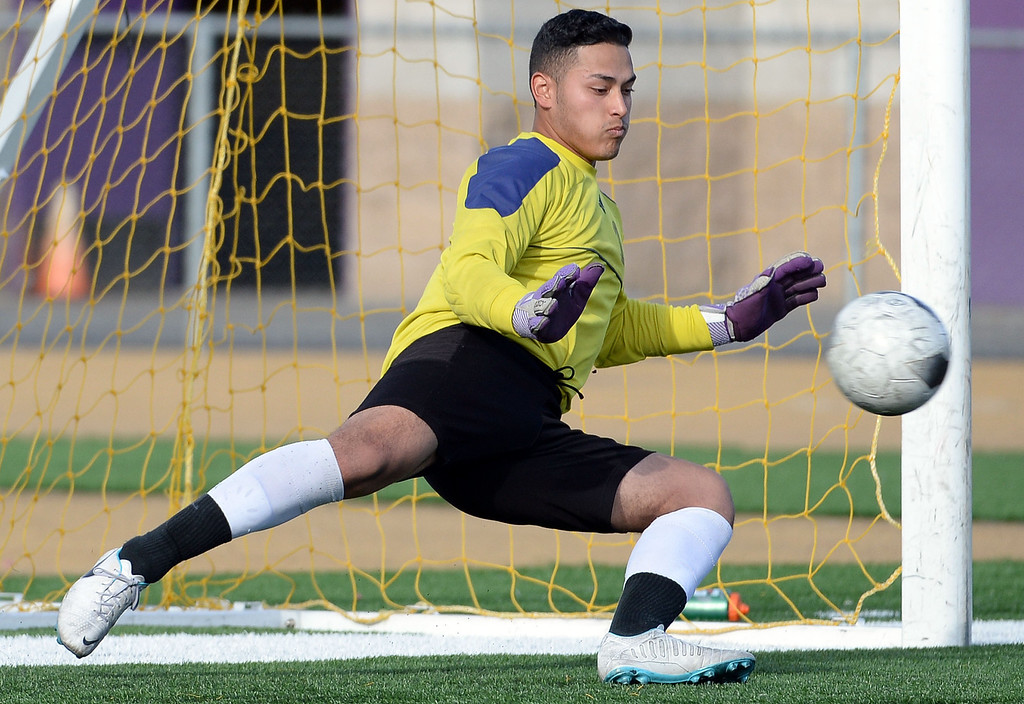 Description of . Baldwin Park's Danny Vega (not pictured) scores past Diamond Bar goal keeper Manny Perez on a penalty kick in the first half of a CIF-SS quarterfinal prep playoff soccer match at Diamond Bar High School in Diamond Bar, Calif., on Thursday, Feb.27, 2014. Baldwin Park won 2-1. (Keith Birmingham Pasadena Star-News)