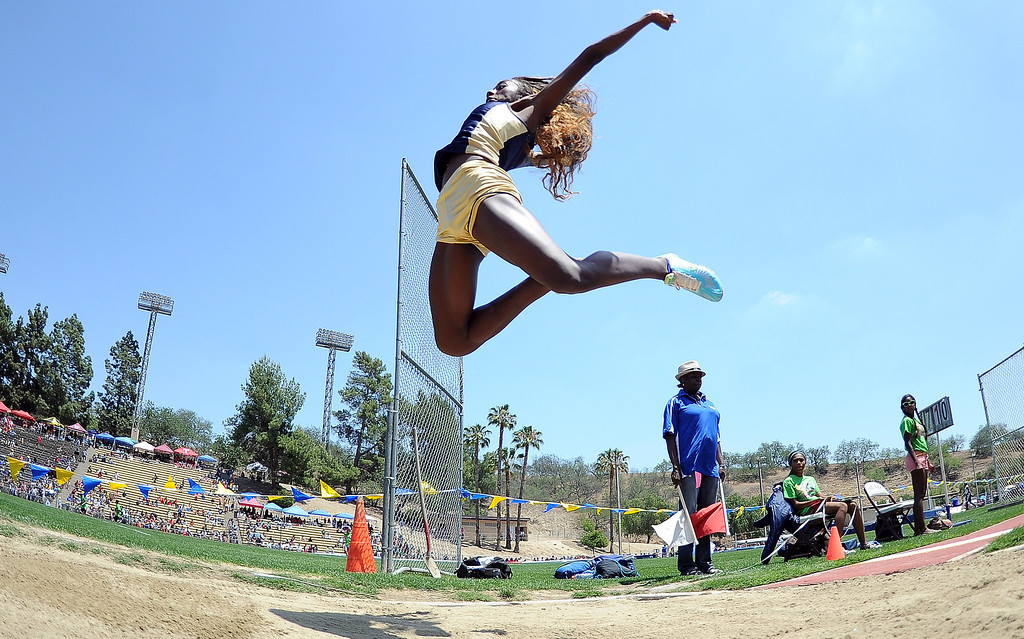 Description of . Los Osos's Kira Moreland in the long jump during the CIF-SS track & Field championship finals in Hilmer Stadium on the campus of Mt. San Antonio College on Saturday, May 18, 2013 in Walnut, Calif.  (Keith Birmingham Pasadena Star-News)