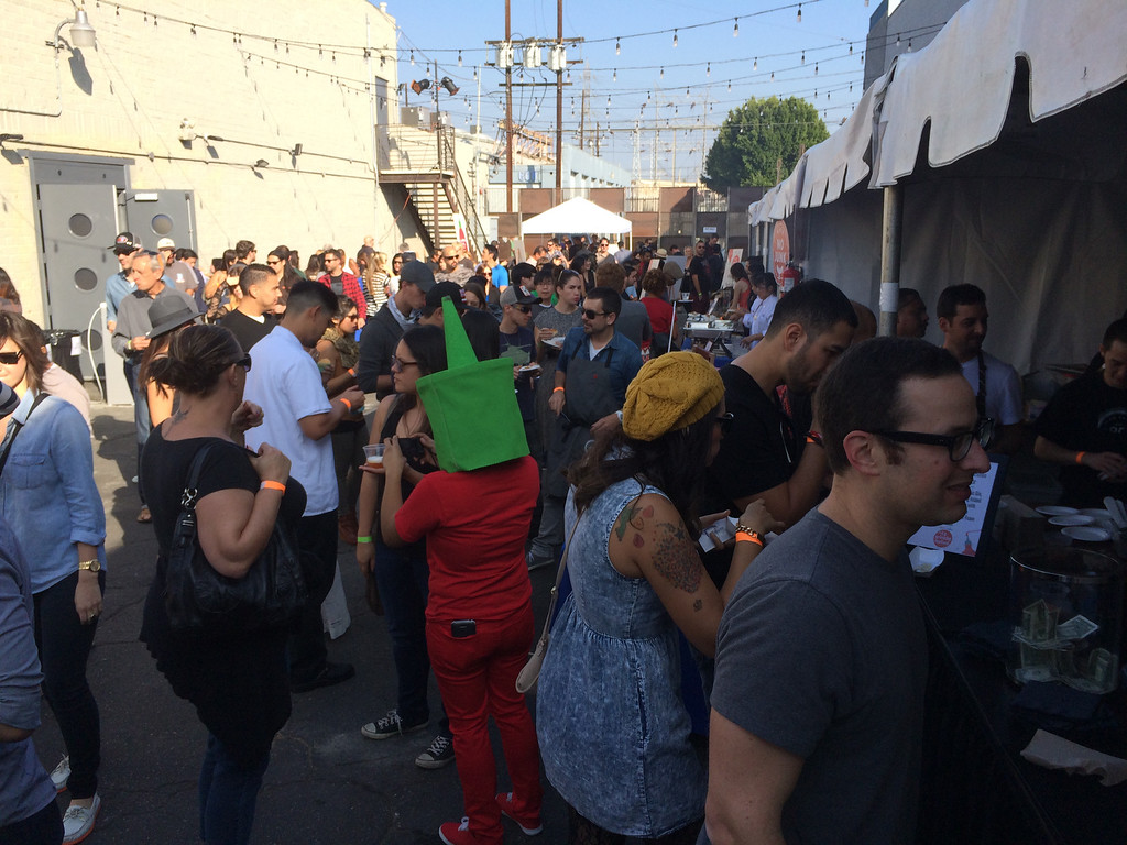 Description of . More than 800 people attended the first L.A. Sriracha Festival Sunday. Huy Fong Foods founder David Tran sponsored the event and attended to see what a dozen L.A. chefs created with his and others' versions of the famous chili sauce. (Photo by Lauren Gold/Staff)