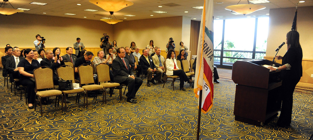 Description of . Councilwoman Ling Ling Chang R-Diamond Bar announces her candidacy for State Assembly, 55th Assembly District during a press conference at Pacific Palms Resort on Friday, May 24, 2013 in Industry, Calif.  (Keith Birmingham Pasadena Star-News)