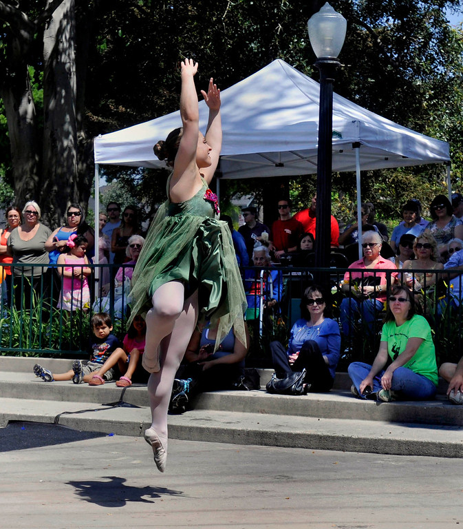 Description of . Sarah Brown, 16, with the Claylee Dance Academy of Whittier dances for the crowds.  The 119th anniversary of the founding of Whittier was celebrated during Founders Day at Central Park in Uptown Whittier, Saturday, May 11, 2013.  (Mike Mullen)