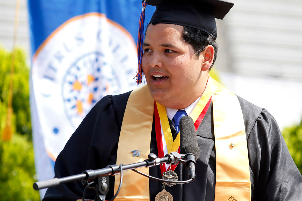 Description of . Mr. Andres (Andy) Navarro, Student Commencement Speaker, during Citrus College 97th Commencement Ceremony, at Citrus College Stadium, in Glendora, Saturday, June 15, 2013. (Correspondent Photo by James Carbone/SVCITY)