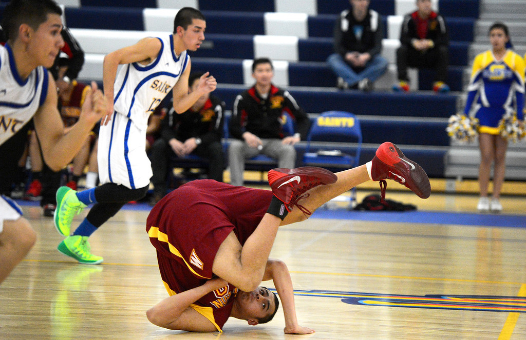 Description of . Wilson defeats San Dimas 45-43 Friday night, January 10, 2014 at San Dimas High School.  (Photo by Sarah Reingewirtz/Pasadena Star-News)