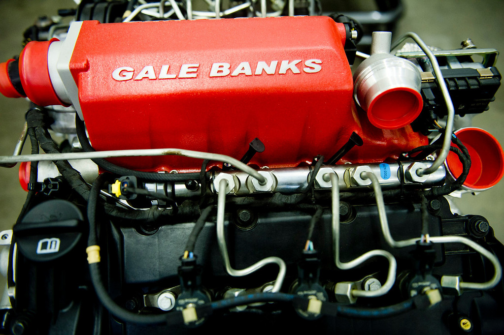 Description of . One of Gale Banks' engine at the Azusa business on Thursday, July 22, 2013. Gale Banks is celebrating 55 years in business. The manufacturing and engineering company produces products for high-performance cars and trucks. (SGN/Staff photo by Watchara Phomicinda)