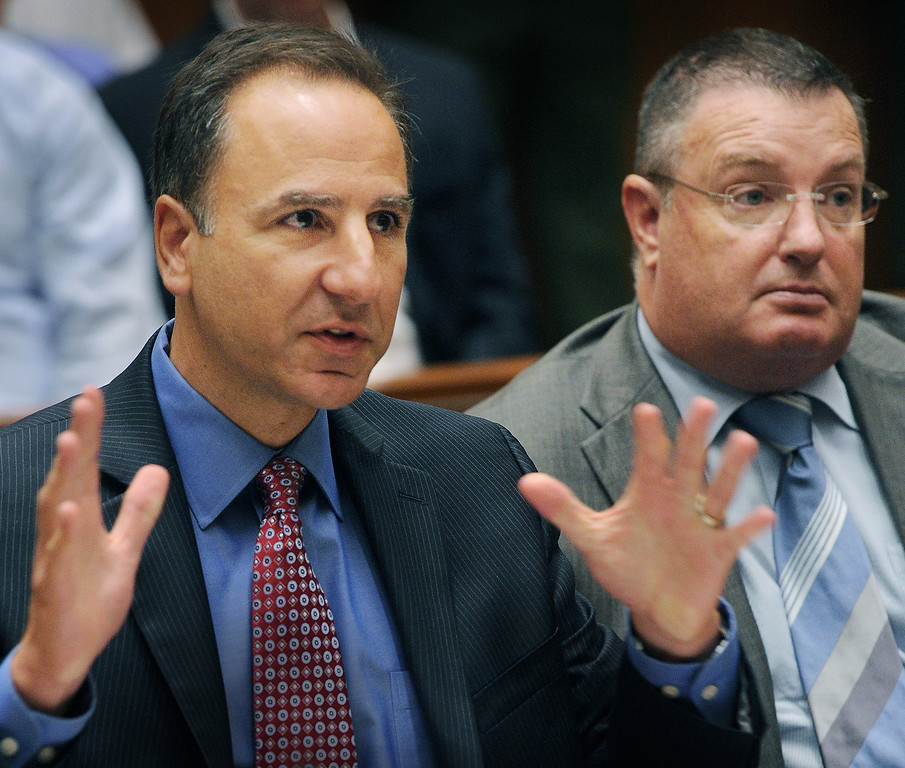 Description of . District Attorney Habib Balian, left, sitting next to Timothy Miley, Sergeant Los Angeles County Sheriff's Department. A Los Angeles Superior Court judge Wednesday, August 15, 2013, sentenced a man who once posed as Clark Rockefeller to 27 years to life for murdering John Sohus in 1985. Christian Karl Gerhartsreiter, 52, will return to court next month for a restitution hearing. He has 60 days to file an appeal.(SGVN/Photo by Walt Mancini)