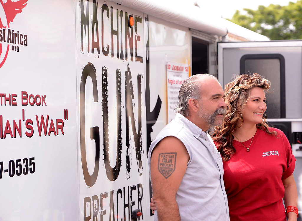 Description of . Sam Childers meets fans prior to Lifepoint Church's Picnic at Red Hill Community Park in Rancho Cucamonga May 5, 2013.  GABRIEL LUIS ACOSTA/STAFF PHOTOGRAPHER.
